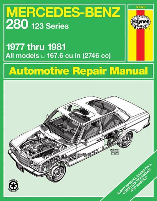 Haynes repair manual mercedes benz 280 w123 1977 1981 for Books mercedes benz