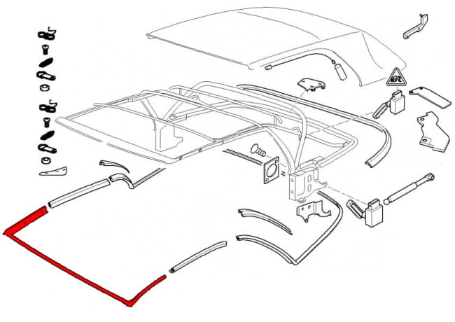 Convertible Top Front Seal 54318229828 - Genuine Bmw