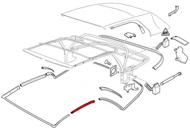 convertible top center seal 54318229829 genuine bmw 54 31 8 229 rh pelicanparts com bmw e46 convertible top wiring diagram bmw e36 convertible top wiring diagram